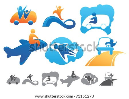 transport and travel, funny cartoon icons - stock vector