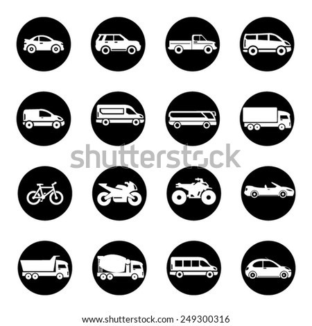 Transport And Vehicle Icon Set - stock vector