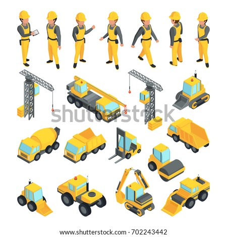 Transport and workers for construction buildings. Vector pictures in isometric style. Building worker and equipment transport illustration