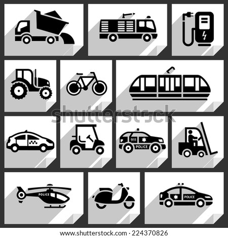 Transport black icons on white paper stickers-06 - stock vector