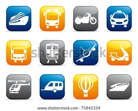 Transport buttons - stock vector