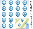 Transport buttons set with map. Vector illustration - stock vector