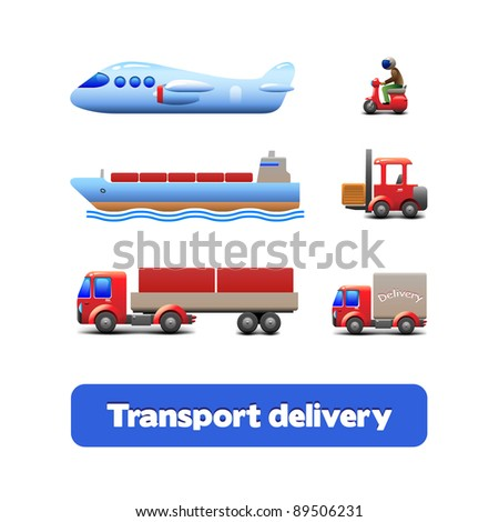 Transport Delivery Web Icon Set Version 3: scooter, truck, car, motorcycle, airplane, forklift, wagon, truck, cargo tank, ship, tanker, carrier - stock vector