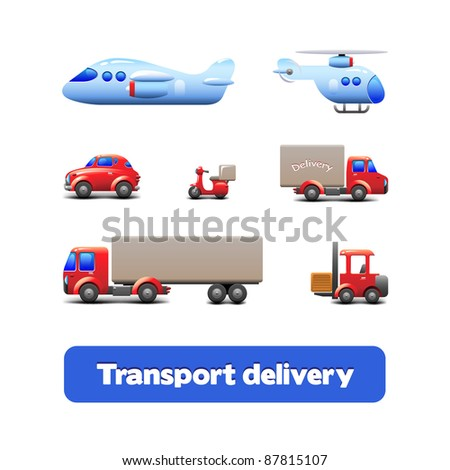 Transport Delivery Web Icon Set Version 2: scooter, truck, car, motorcycle, helicopter, airplane, forklift, wagon, truck - stock vector