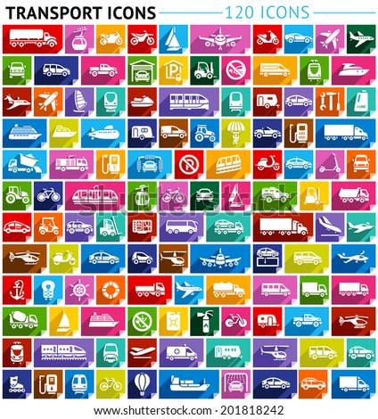 Transport flat icon, stickers square shapes, modern colors. Vector illustration - stock vector