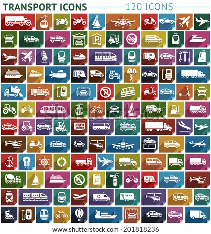 Transport flat icon, stickers square shapes, retro colors. Vector illustration - stock vector