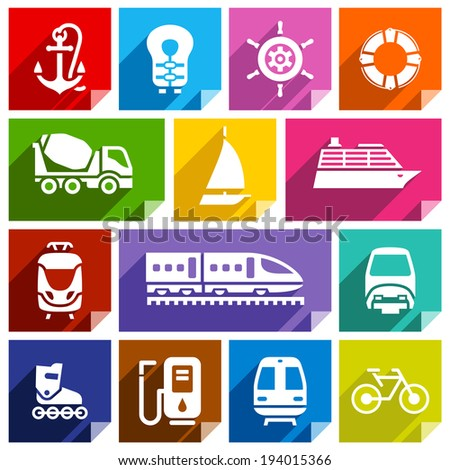 Transport flat icons with shadow, stickers square shapes, bright colors - Set 01 - stock vector