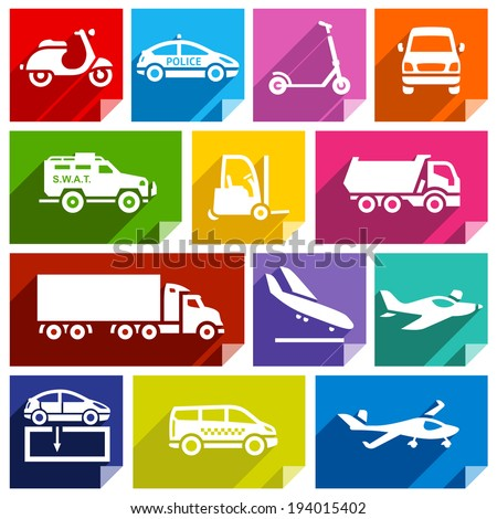 Transport flat icons with shadow, stickers square shapes, bright colors - Set 05 - stock vector