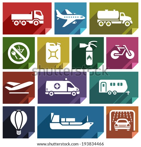 Transport flat icons with shadow, stickers square shapes, retro colors - Set 02 - stock vector