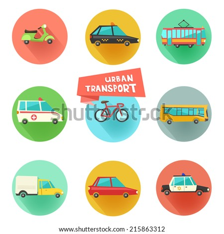 Transport flat vector icons on circular backgrounds. 9 colorful urban city vehicles including tram, ambulance, taxi cab, police car.  - stock vector