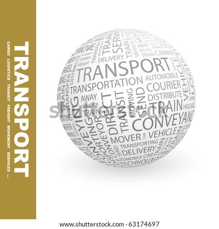 TRANSPORT. Globe with different association terms. - stock vector