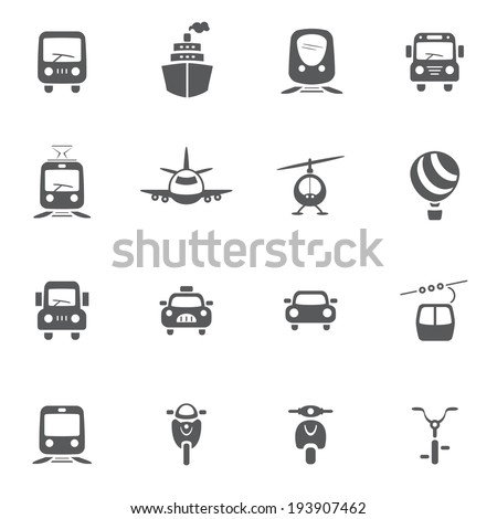 transport icon set - stock vector
