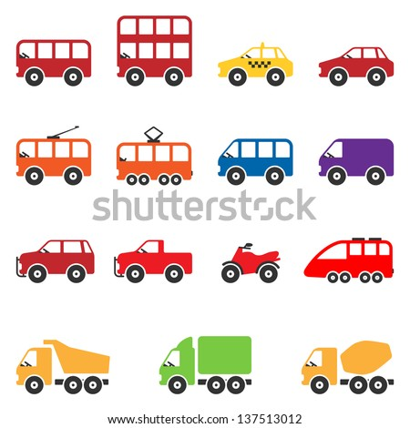 Transport Icon Set. Vector - stock vector