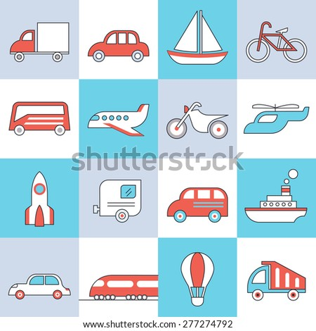 Transport icons, flat design, thin lines and light color style - stock vector