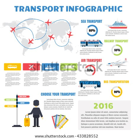 Transport infographic set with charts and transport infographic other elements. Vector illustration transport infographic and transport infographic information set business map car sign collection. - stock vector