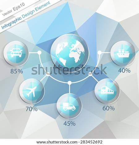 Transport Infographics design element. Template with five options. Vector illustration. Eps10 - stock vector