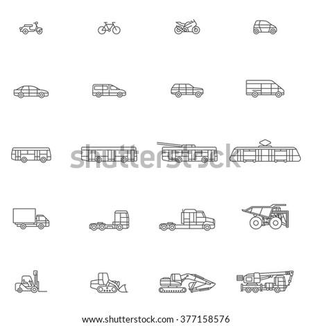 Transport line art icon set - stock vector