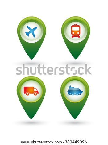 Transport. Pointers. Icons. Vector illustration.