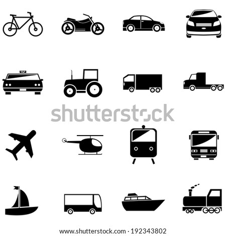 transport related icons for design or application. - stock vector
