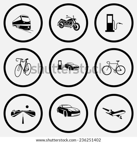 Transport set. Black and white set vector icons. - stock vector