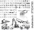 Transport set of black sketch. Part 2. Isolated groups and layers. - stock photo