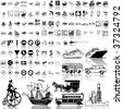 Transport set of black sketch. Part 5. Isolated groups and layers. - stock vector
