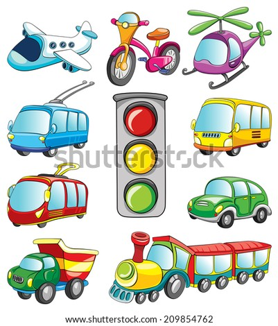 transport set, vector illustration on white background - stock vector