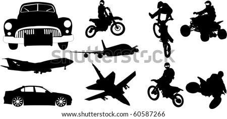 Transport silhouette set - stock vector