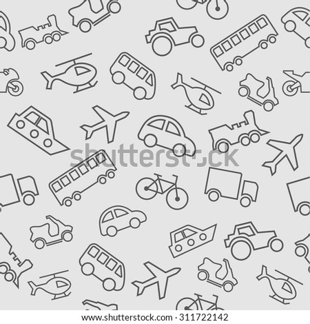 transport vector seamless pattern. transport seamless texture. airplane, Bicycle, truck, car, helicopter, bus, motorcycle, scooter, boat, tractor. children seamless pattern - stock vector