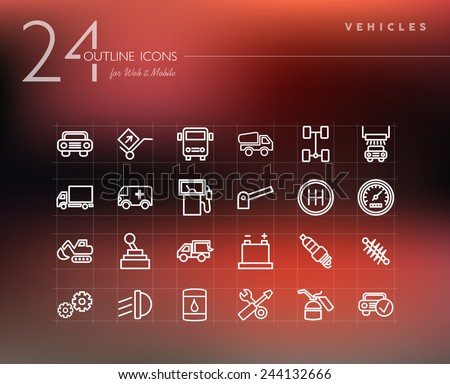 Transport vehicles and mechanic service line icons set for web and mobile app. EPS10 vector file organized in layers for easy editing. - stock vector