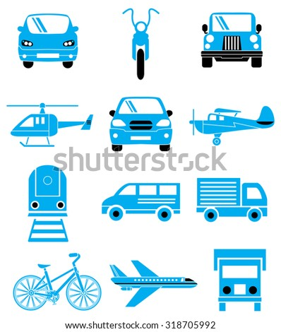 Transport vehicles blue icons set - stock vector