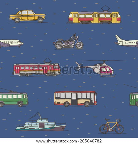 Transport vehicles seamless pattern - stock vector