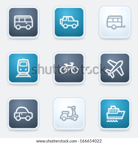Transport web icon set, square buttons