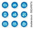 Transport  web icons, blue stickers series - stock vector