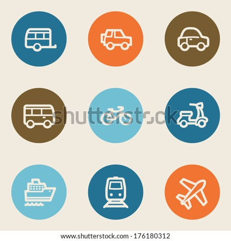Transport web icons, color circle buttons