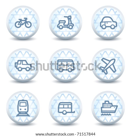 Transport web icons, glossy circle buttons - stock vector