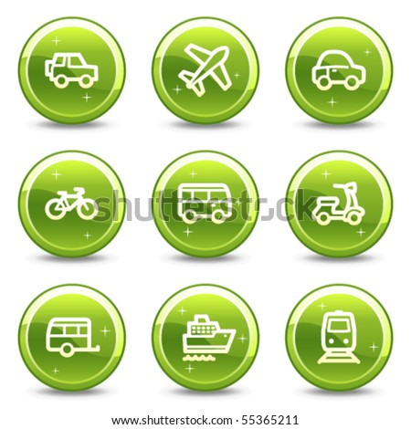 Transport web icons, green glossy circle buttons series - stock vector