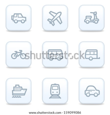 Transport web icons, square buttons