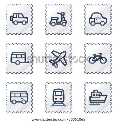 Transport  web icons, white stamp series