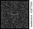 TRANSPORT. Word collage on black background. Illustration with different association terms. - stock vector
