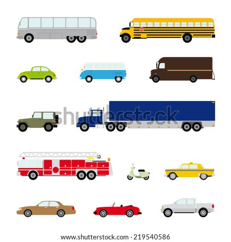 Transportation and Automotive Symbol Vector Set. Collection of thirteen motor vehicle icons, flat design - stock vector