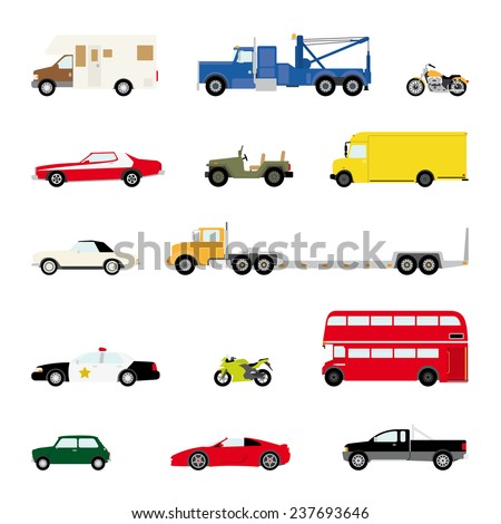 Transportation and Automotive Symbol Vector Set. Set of fourteen motor vehicle icons, flat design. - stock vector