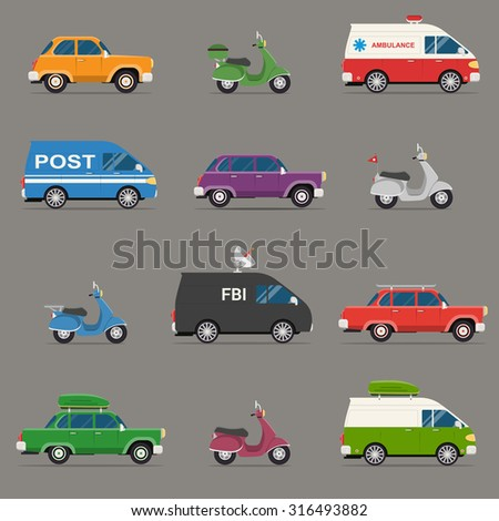 Transportation and Automotive Symbol Vector Set. Set of motor vehicle icons, flat design. - stock vector