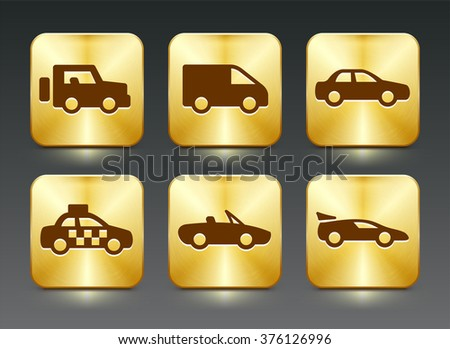 Transportation and cars on Gold Square Buttons