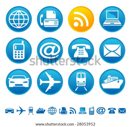 Transportation and telecom icons - stock vector