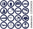 Transportation and travel icons set. Vector illustration. - stock vector