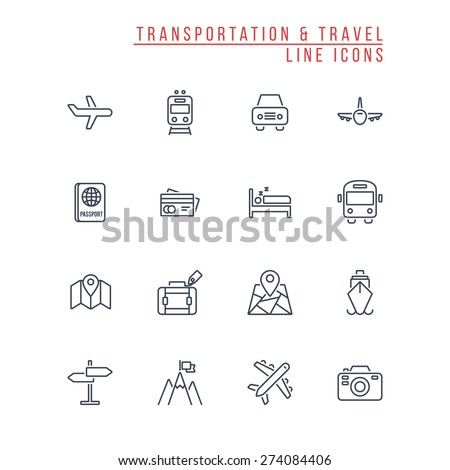 Transportation and Travel Line Icons - stock vector