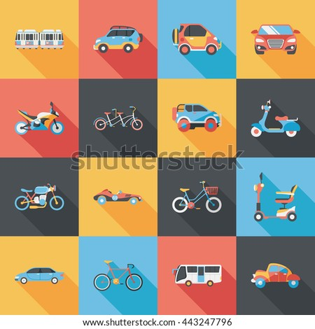Transportation and vehicle icons set - stock vector