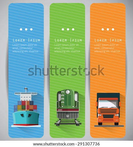 Transportation banners with long shadow flat images. Front View, Vector. - stock vector