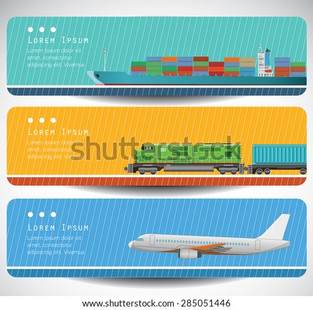 Transportation banners with long shadow flat images. Vector. - stock vector